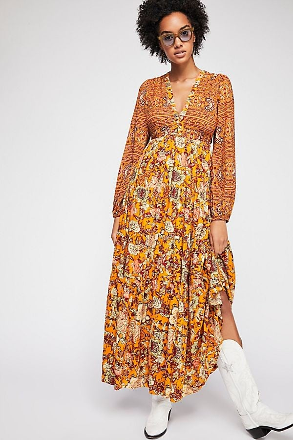 Free People yellow maxi dress