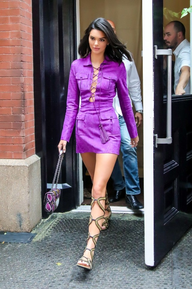 Kendall Jenner Longchamp purple dress and sandals