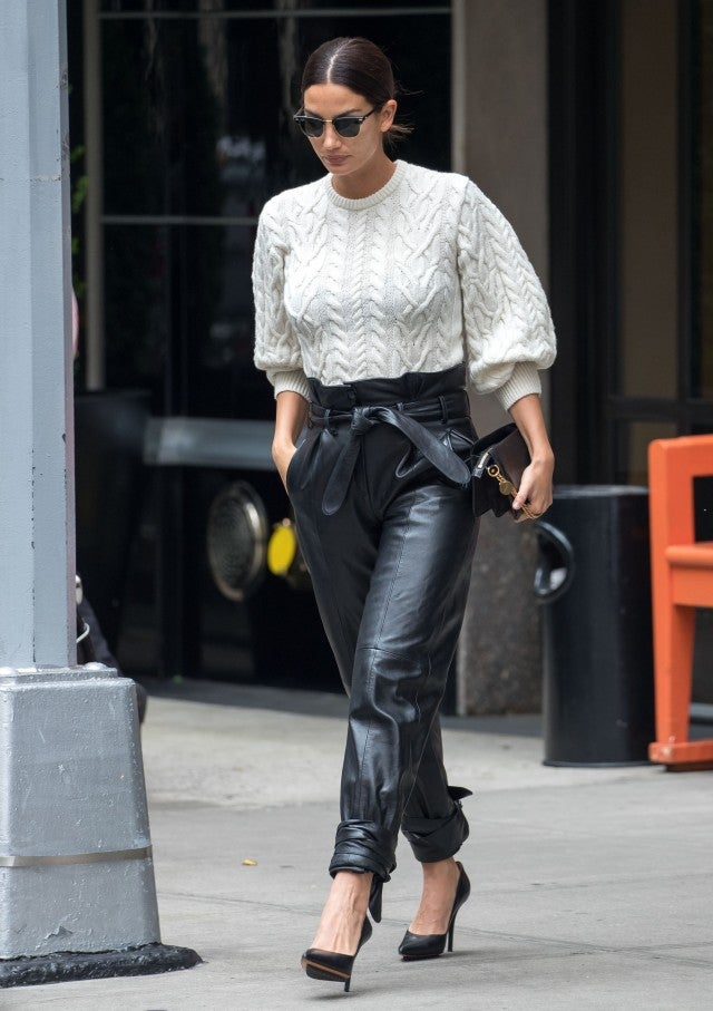 Lily Aldridge sweater and leather pants