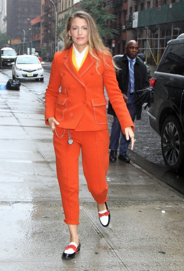 Blake Lively in orange suit in NYC