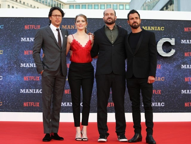 Emma Stone, Justin Theroux, Cary Fukunaga and Patrick Somerville at Maniac London premiere