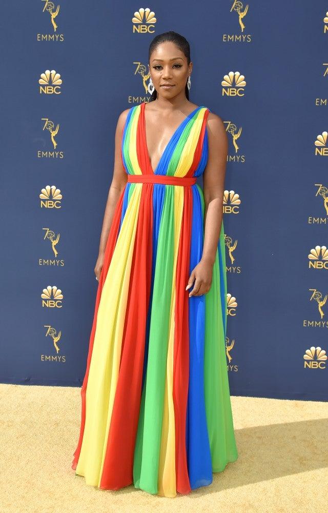 b7d6be9e1148e Tiffany Haddish Compares Her Rainbow Emmys Dress to a 'Parachute ...