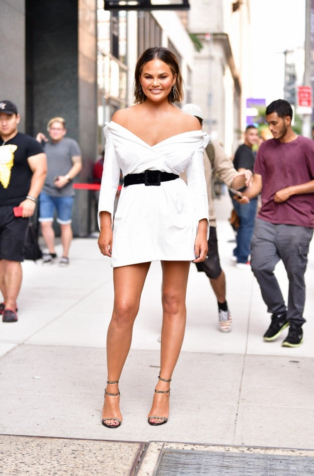 Chrissy Teigen white mini dress