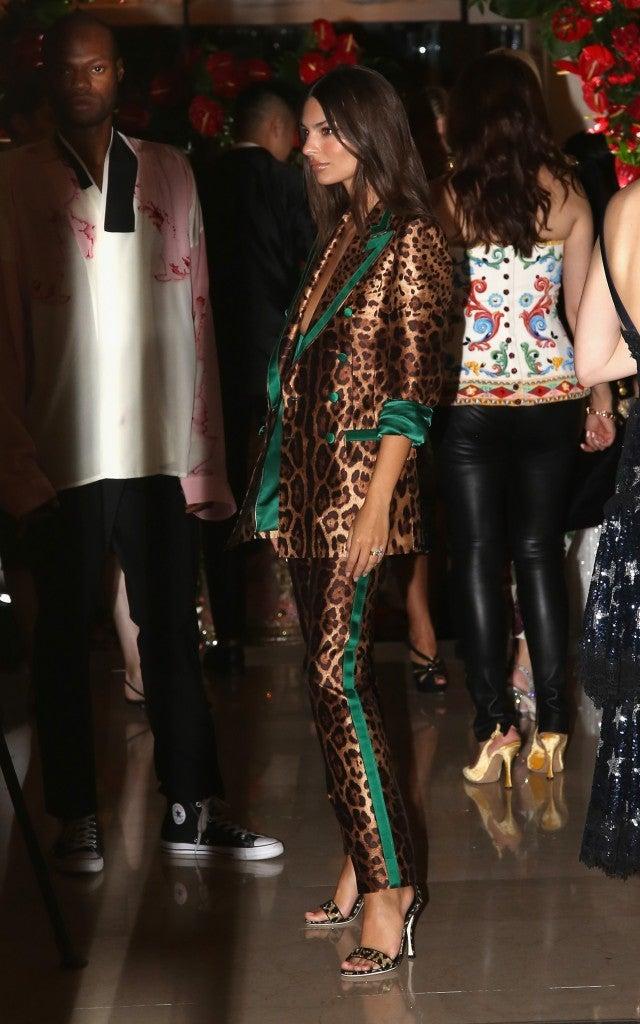Emily Ratajkowski leopard suit