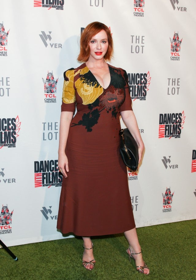 Christina Hendricks brown midi dress getty