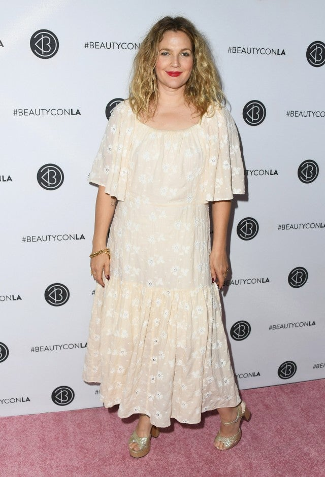 Drew Barrymore flowy dress Beautycon getty