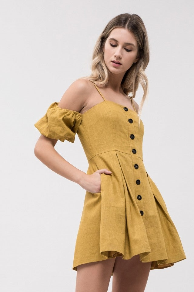 JOA yellow mini dress