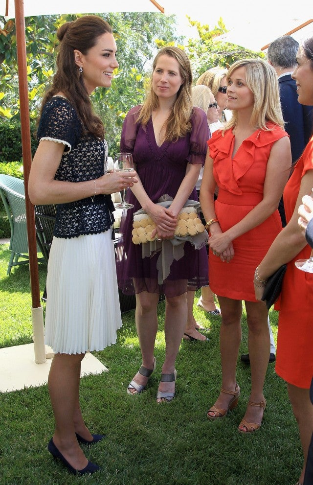 Catherine, Duchess of Cambridge meets actress Reese Witherspoon as she attends a reception to mark the Launch of Tusk Trust's US Patron's Circle on July 10, 2011 in Santa Barbara, California.