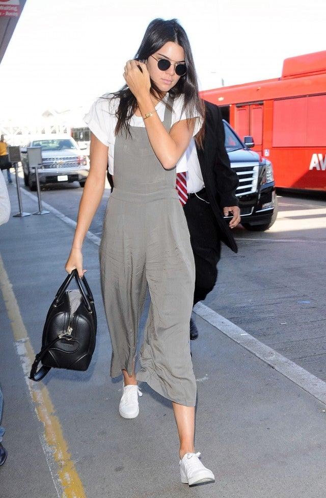 Kendall Jenner jumpsuit with white tee