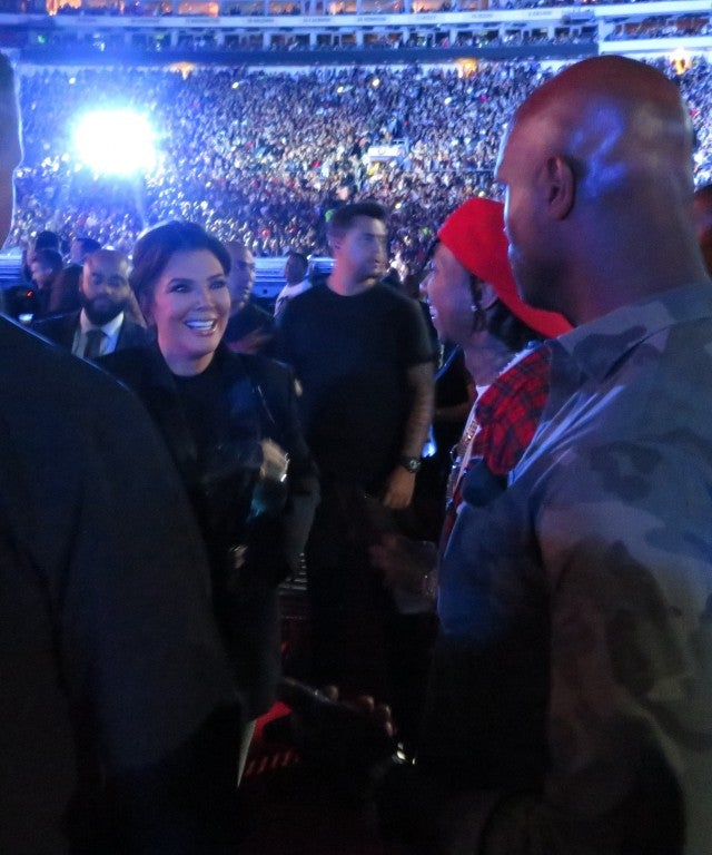 Kris Jenner runs into Tyga at Beyonce and JAY-Z's On the Run II concert on Sept. 23, 2018.