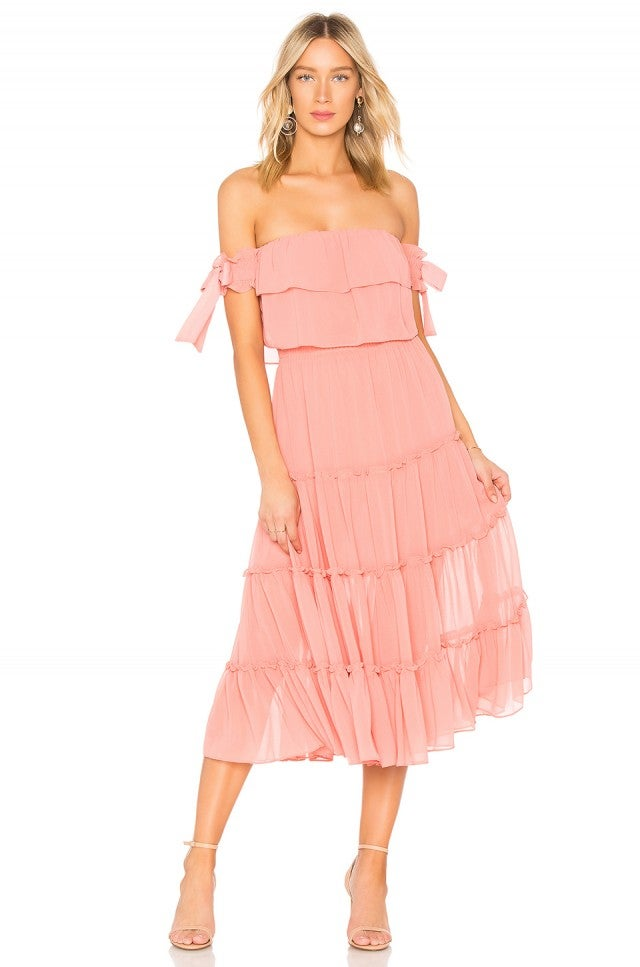 MISA pink off-the-shoulder dress