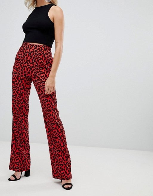 Missguided red leopard pants