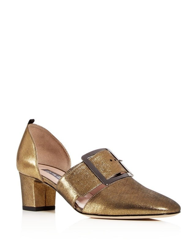 SJP gold buckled shoes
