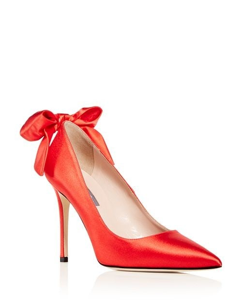 SJP orange bow pumps