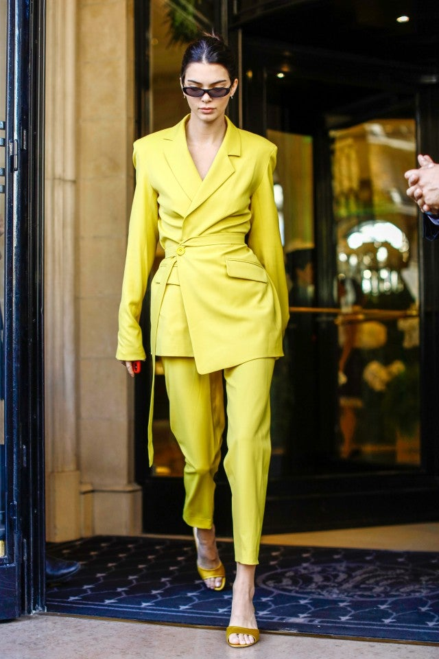 Kendall Jenner in yellow suit in Paris