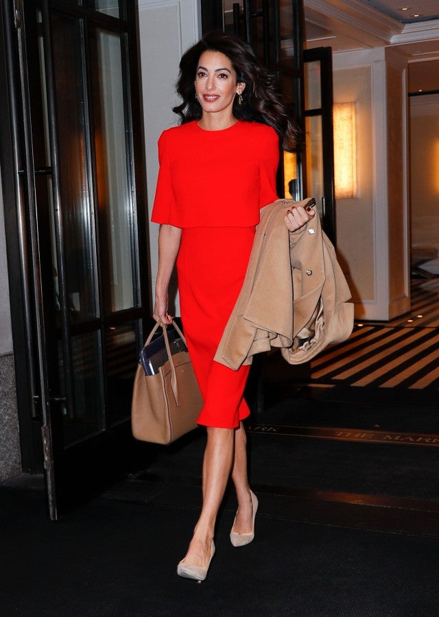 Amal Clooney in red dress