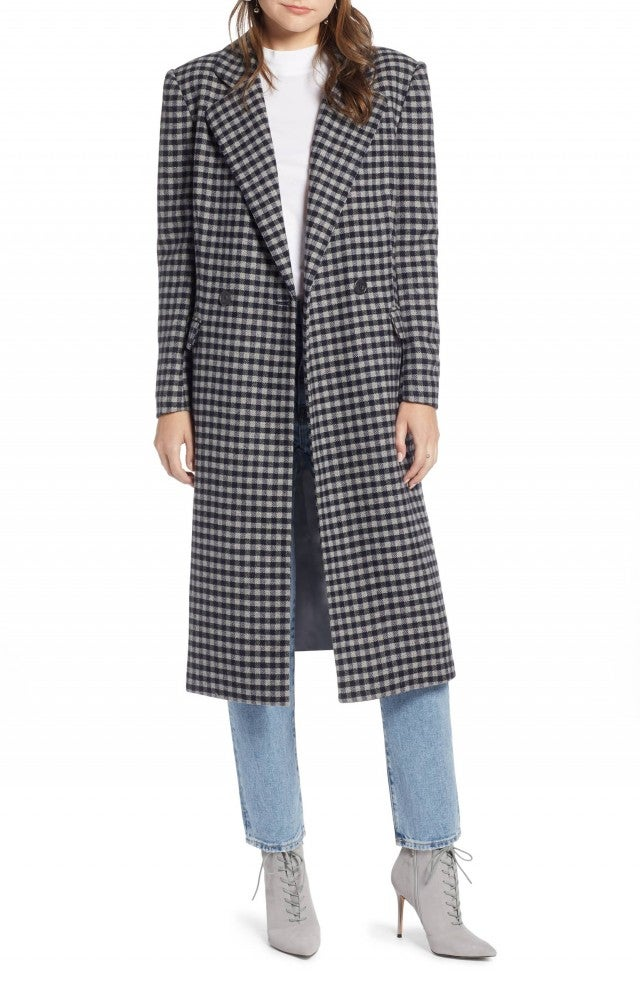 Something Navy checked coat