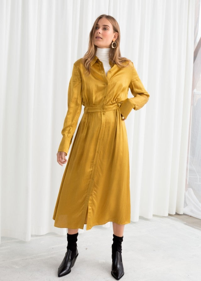 & Other Stories yellow shirt dress