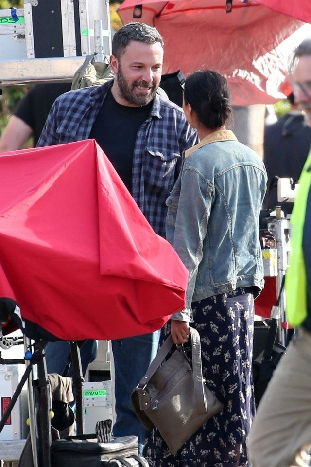 Ben Affleck and Janina Gavankar on the set of 'Torrance' in Los Angeles on Oct. 22