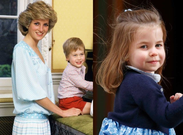 Princess Diana with son Prince William alongside Princess Charlotte