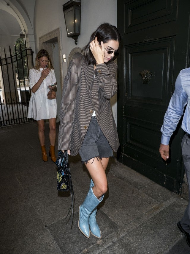 Kendall Jenner in blue cowboy boots