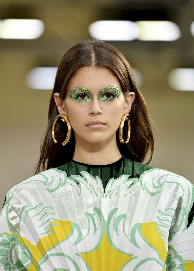 Kaia Gerger with green eyes at Valentino