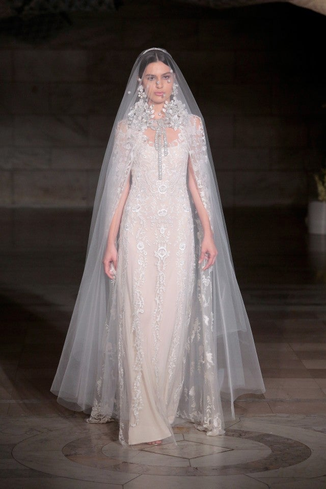 Reem Acra wedding dress cape