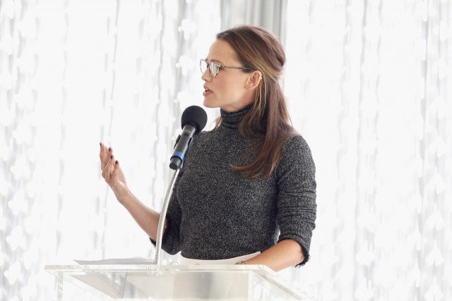 Jennifer Garner speaks onstage during The Rape Foundation's Annual Brunch on October 7, 2018 in Beverly Hills, California.