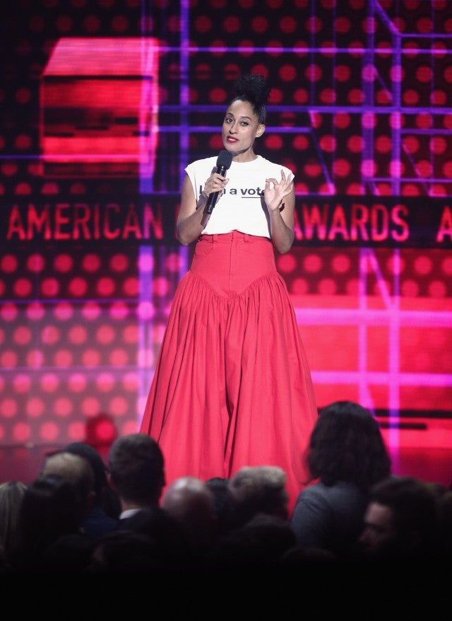 Tracee Ellis Ross in voter tee and pink skirt AMAs