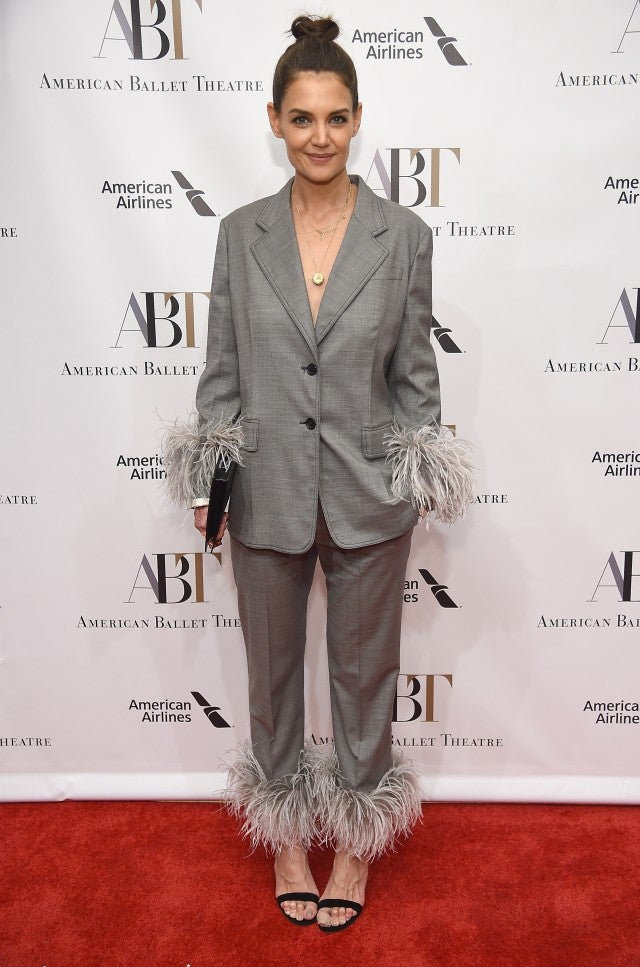 Katie Holmes in feathered pantsuit
