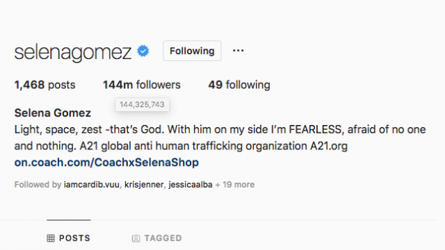 Selena Gomez Dethroned as Most-Followed Person on Instagram