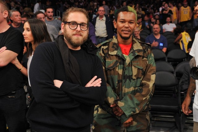 Jonah Hill and Ka-nel at the Los Angeles Lakers game at the Staples Center on Oct. 20