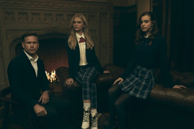 Legacies Matthew Davis as Alaric, Jenny Boyd as Lizzie, and Kaylee Bryant as Josie