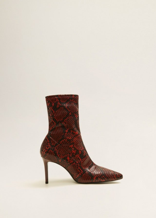 Mango red snakeskin boots
