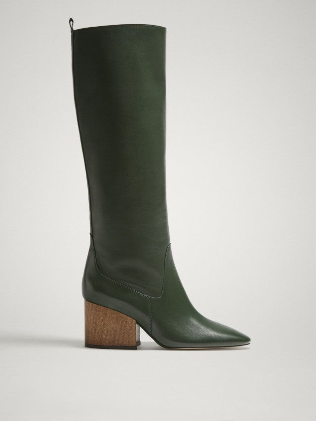 Massimo Dutti green knee boots