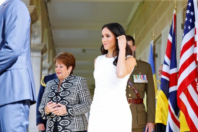 Meghan Markle and Her Excellency Lady Lynne Cosgrove attend a Welcome Event at Admiralty House on October 16, 2018 in Sydney, Australia.