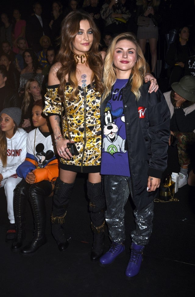 Paris Jackson and Frances Bean Cobain attend the Moschino x H&M fashion show on Oct. 24, 2018.