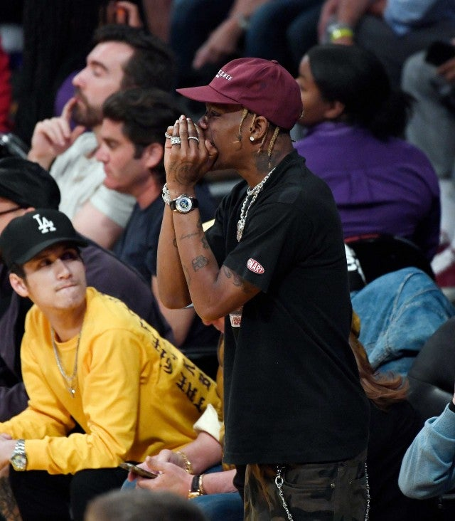 Travis Scott at the Los Angeles Lakers game at the Staples Center on Oct. 20