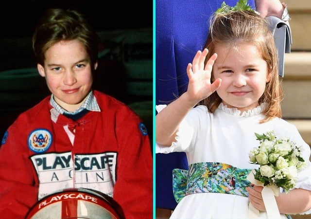 Young Prince William alongside Princess Charlotte