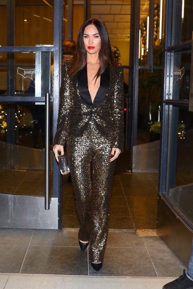 megan fox sparkles in a gold sequined suit see her