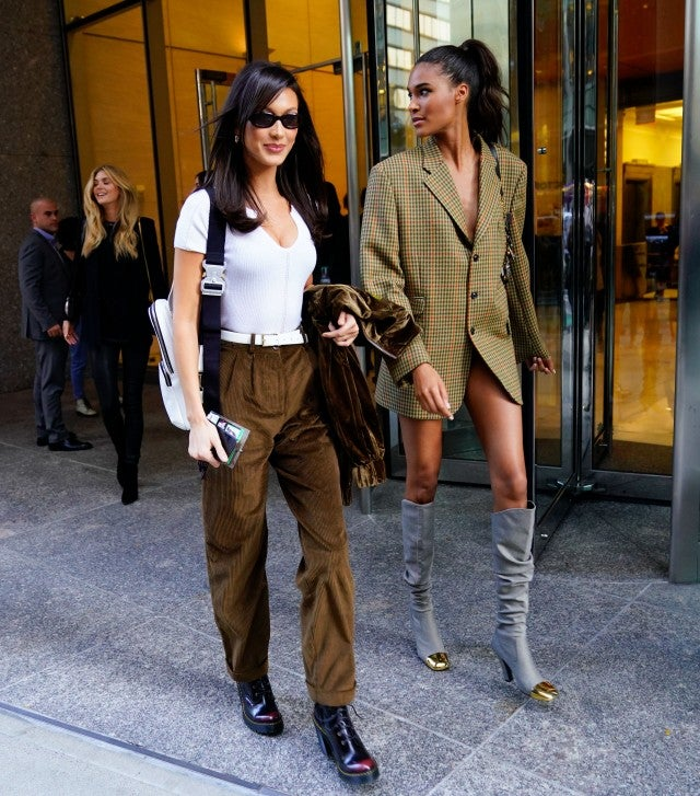 Bella Hadid and Cindy Bruna outside VS rehearsals