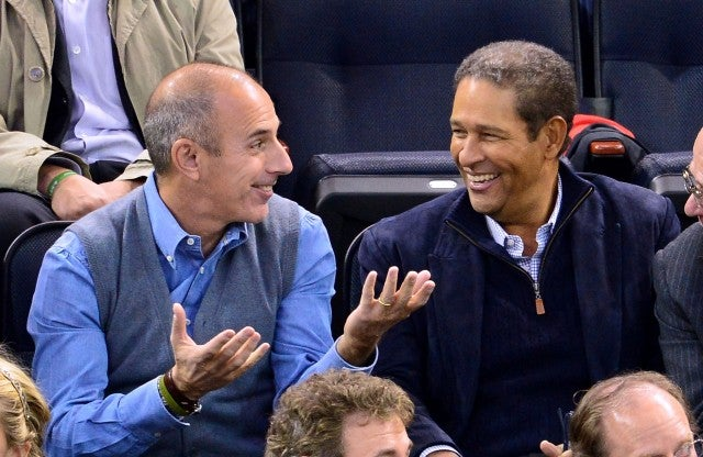 Matt Lauer and Bryant Gumbel attend the Montreal Canadiens vs. the New York Rangers at Madison Square Garden on October 28, 2013 in New York City.