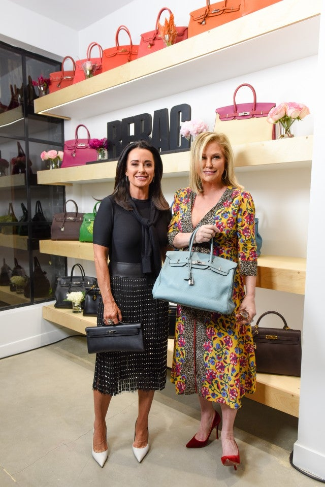 Kyle Richards and Kathy Hilton attend the opening of Rebag Melrose Place.