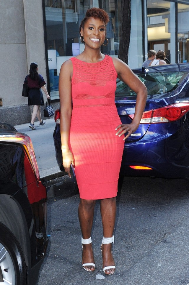 Issa Rae in coral