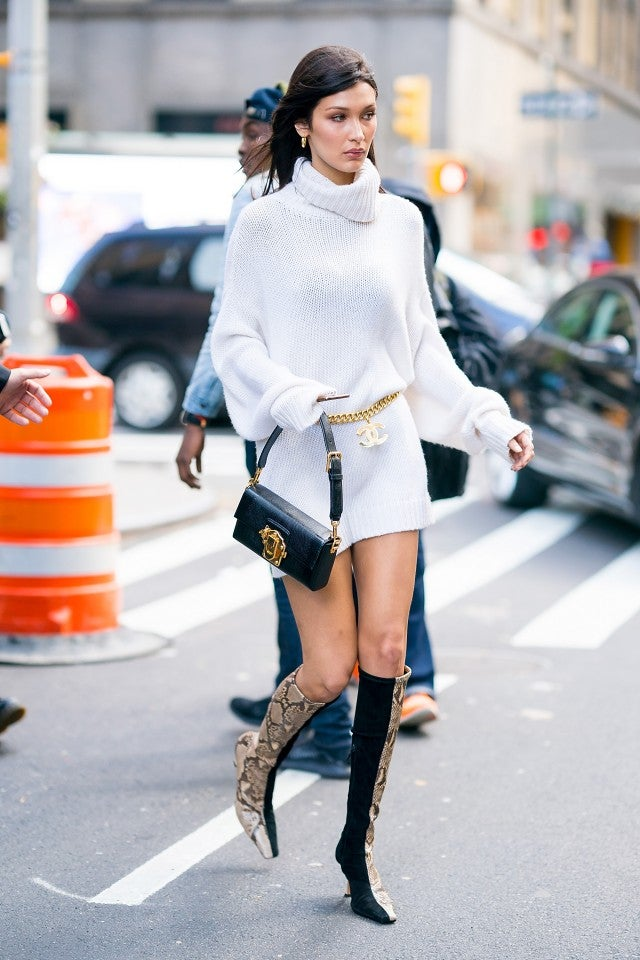Bella Hadid in white sweater dress