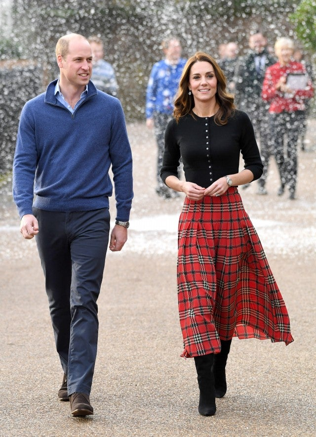 Kate Middleton and Prince William in fake snow