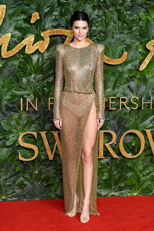 kendall jenner rocks risque look at british fashion awards