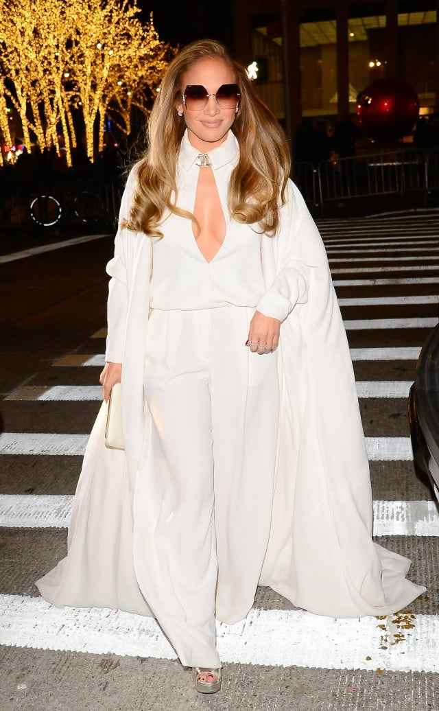 Jennifer Lopez in white outfit in NYC
