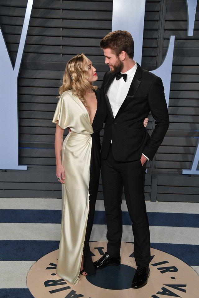 Miley Cyrus and Liam Hemsworth at 2018 Vanity Fair Oscar Party