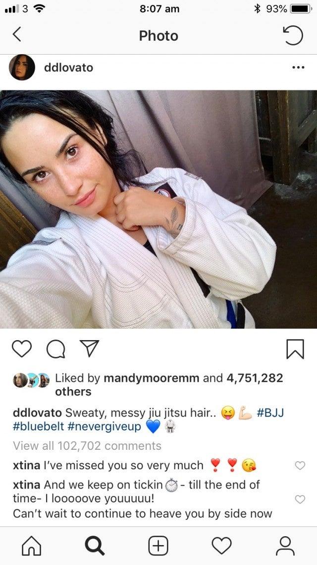 Christina Aguilera comments on Demi Lovato's Instagram